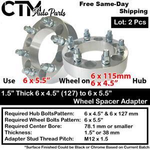 """2PC 1.5"""" THICK 6x4.5"""" to 6x5.5"""" 71.5MM C.B. WHEEL ADAPTER SPACER FIT NISSA&MORE"""