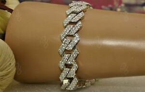 Miami Prong Cuban Link Bracelet Men's Hip Hop Cubic Zircon Sterling Silver S925