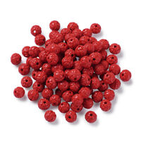 100pcs Carved Resin Cinnabar Beads Flower Bud Round Loose Spacers Beading 6~7mm