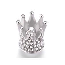 Stainless Steel Crown European Bead, King Charm with Rhinestones, Fits Bracelet