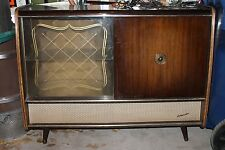 1957 KUBA-GRUNDIG TUBE AMP cocktail CONSOLE GLASS DISPLAY CASE BAR ANTIQUE