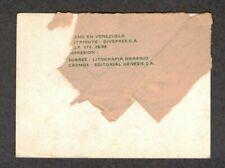 1977 Venezuelan Sticker Pablo Torrealba Venezuela PARTIAL WRAPPER ON BACK