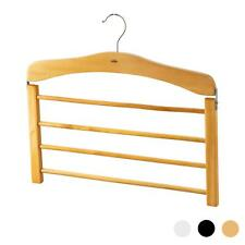 1 Wooden Trouser Hanger Multi Hangers 4 Trousers Space Saving Clothes Wood