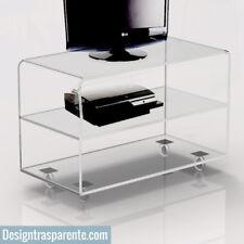 Carrello TV tavolino, tavolo trasparente con ruote  in plexiglass 70x30 h50 cm