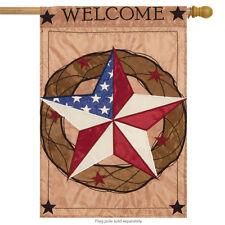 "Barn Star Welcome Applique House Flag Primitive Patriotic Stars&Stripes 29""x42"""