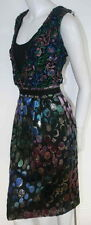 Clements Ribeiro blue green pink black cocktail dress metallic  NEW  sz 42 or 8