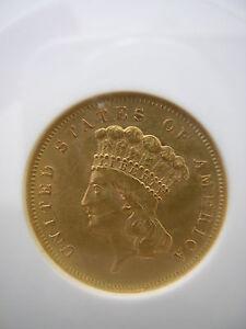 ANACS 1856 S  $3.00 PRINCESS GOLD PIECE MEDIUM  S   AU 55  (RARE)