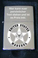 US Marshal Police Polizei Emblem Bildgravur Feuerzeug inkl. Textgravur
