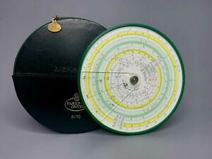 Vintage German Faber-Castell 8/10 Slide Rule Circular Round w/Case BASF AD