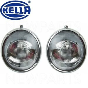 For VW Porsche 356A 356C Beetle 55-65 Pair Set of 2 Headlight Assemblies Hella