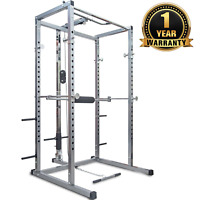 Merax Power Rack Athletics Fitness Olympic Squat Cage with Lat Pull Attachment