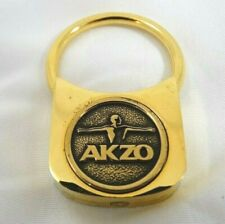 Brass Key Ring AKZO Logo