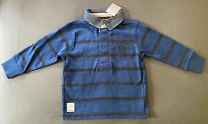Toddler Boy Size 3 Years Next UK Blue Striped Long Sleeve Rugby Shirt