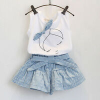 Kid Baby Girl Sleeveless Top T-shirt+Shorts Pants Skirt Dress Clothes Set Outfit