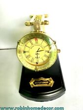 Nautical Style Table Top Folding Yellow Dial Collectible Watch with Wooden Base