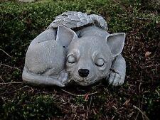 Chihuahua Angel Memorial Statue, Sleeping Concrete Chihuahua Figure, Memorial