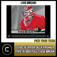 2018-19 UPPER DECK PREMIER HOCKEY 5 BOX FULL CASE BREAK #H370 - PICK YOUR TEAM