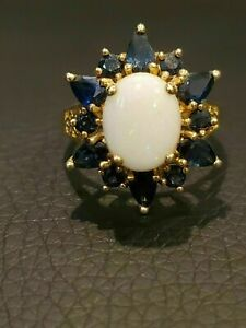 2.50Ct Oval Cut Fire Opal & Blue Sapphire Engagement Ring 14k Yellow Gold Finish