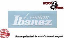Ibanez J. Custom Guitar Headstock Vinyl Decal (White)