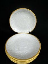 Pottery Barn Soulful Set of 5 Salad/Dessert Plates White Embossed Floral Gold Ri