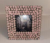 "New Pink FreeStanding Square Photo Frame 3.5"" X 3.5"" Elegant Flower Design"