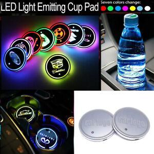 1PC Car Logo LED Cup Pad USB Charging Mat Auto Decoration Light Car Cup Coaster