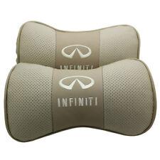 2Pcs Real Leather Beige Car Seat Neck Pillow Car Headrest Fit For Infiniti Car
