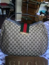 Authentic Gucci Brown Canvas/Leather Sherry Web Hobo Handbag-Beautiful Preowned