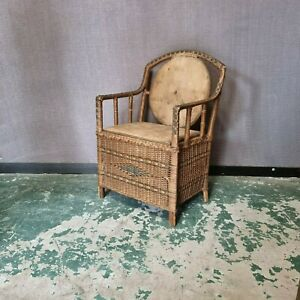 Antique Wicker Rattan Woven Bamboo Cane Chair Vintage Chair Storage