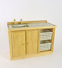 Dollhouse Miniature Laundry Kitchen Sink with Baskets, Oak, T4288