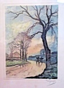 Original Etching with Watercolor, Hand Signed LePage, (Jules Bastien) 1848-1884