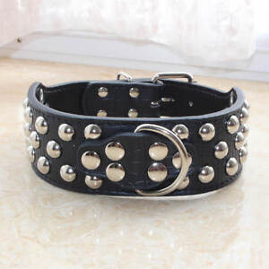 Brand New Leather Spiked Studded Dog Collar Medium Large Pit Bull Terrier M L XL