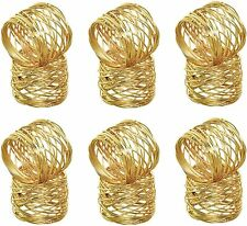 Handmade Gold Round Mesh Napkin Rings Set of 12 Holder for Dinning Table Parties