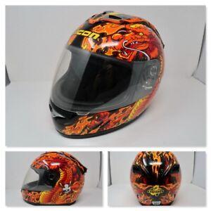 Icon Full Faced #M55 Orange Dragon Motorcycle Helmet Size Medium Pre Owned