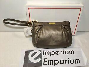 Coach Leather Pleated Medium Wristlet Steel Brown Handbag Purse F46484