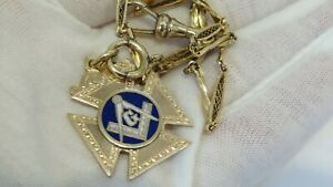 """Antique 14K Gold Filled Masonic Masons Enamel Fob and 13.5"""" Pocket Watch Chain"""