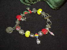 European Style June Murano Glass Bead Lady Bug Charm Bracelet Strawberry Sun +++