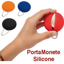 PORTA MONETE Euro PVC Centesimi PORTA SPICCIOLI Borsellino SILICONE BLU ROSSO