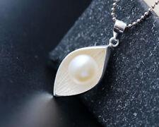 B06 Anhänger Blatt Blüte mit echter Süßwasser Perle Sterling Silber 925