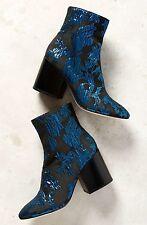NIB Anthropologie Bettye Muller black blue Metallic Brocade Fabric Zip Boots 8