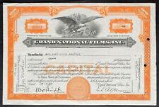GRAND NATIONAL FILMS INC Stock 1936. E.L. Alperson. Tex Ritter. James Cagney RKO