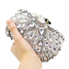 Women Silver Beaded Evening Purse Minaudiere Handbag Bridal Crystal Clutch Bag