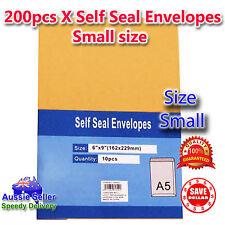 200pc x A5 Kraft Brown Peel&Seal Envelopes C5 Document Paper Letter 162 x 229