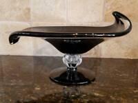 Black Art Glass - Leaf Shaped Pedestal Dish