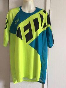 Fox DEMO Racing Wear Shirt Color Fluorescent Green / Blue Size L