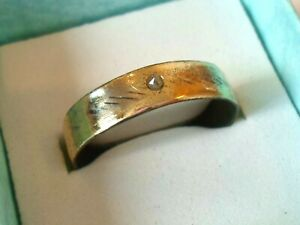 DETECTOR FIND & POLISHED,1300-1500 A.D MEDIEVAL WEDDING RING WITH REAL DIAMOND