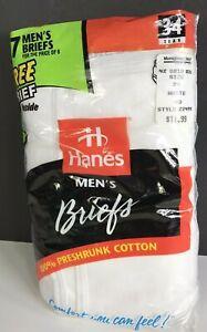 Vintage 1997 HANES 7 Pairs Men White Fly Front Briefs Underwear Size 34