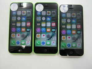 Lot of 3 Apple iPhone 5c A1532 Unlocked 8GB Check IMEI Fair Condition AD-7183