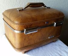 1970's Vintage American Tourister Brown Escort Train Case w/ Tray Bag & Mirror