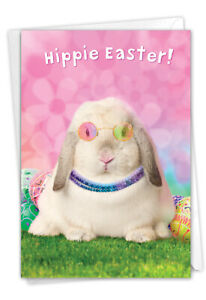 1 Funny Easter Card with Envelope - Hippie Rabbit Easter C9226EAG